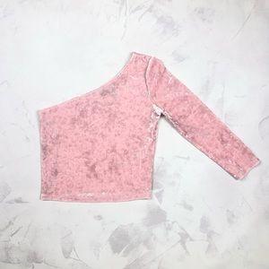 Light pink Forever 21 velvet one shoulder crop top